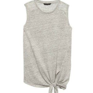 NWT Banana Republic Linen Tie Tank Top Gray Large